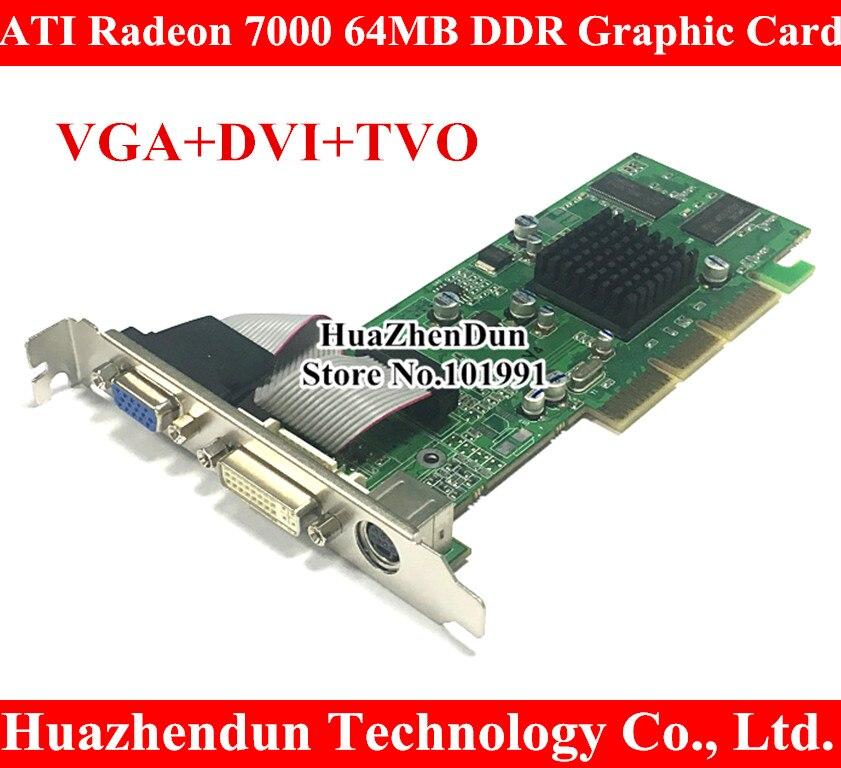 Brand New ATI Radeon 7000 64M DDR DVI VGA TVO AGP Graphic Card Video Card DVI+VGA+TVO free shipping new hd6850 2gb gddr5 256bit game card hdmi vga dvi port 6850 2gb original graphic card ati radeon for desktop