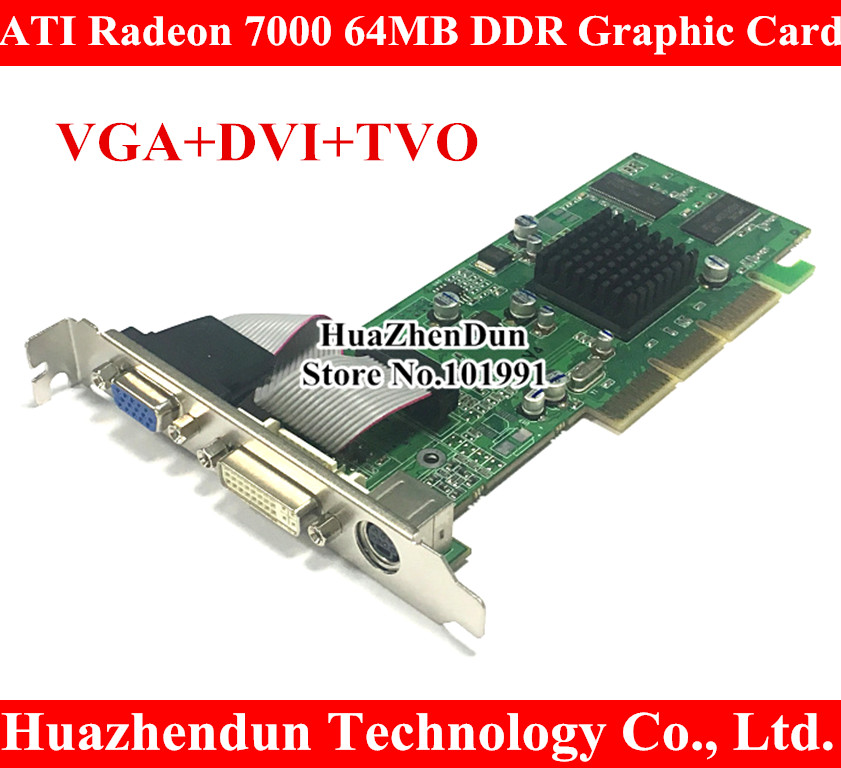 Tout nouveau ATI Radeon 7000 64 M DDR DVI VGA TVO AGP carte graphique carte vidéo DVI + VGA + TVO
