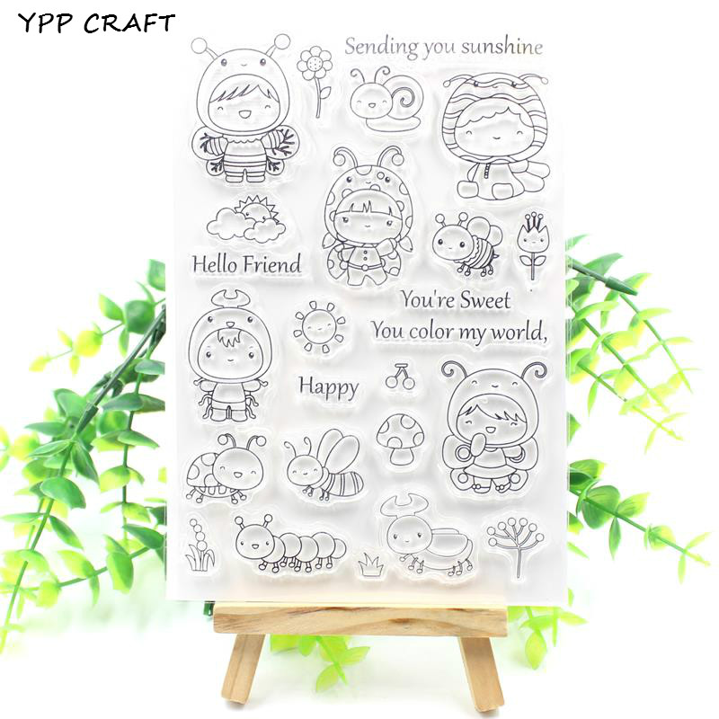 YPP CRAFT Sending You Sunshine Bee Transparent Clear Silicone Stamp/Seal for DIY scrapbooking/photo album Decorative clear stamp about lovely baby design transparent clear silicone stamp seal for diy scrapbooking photo album clear stamp paper craft cl 052