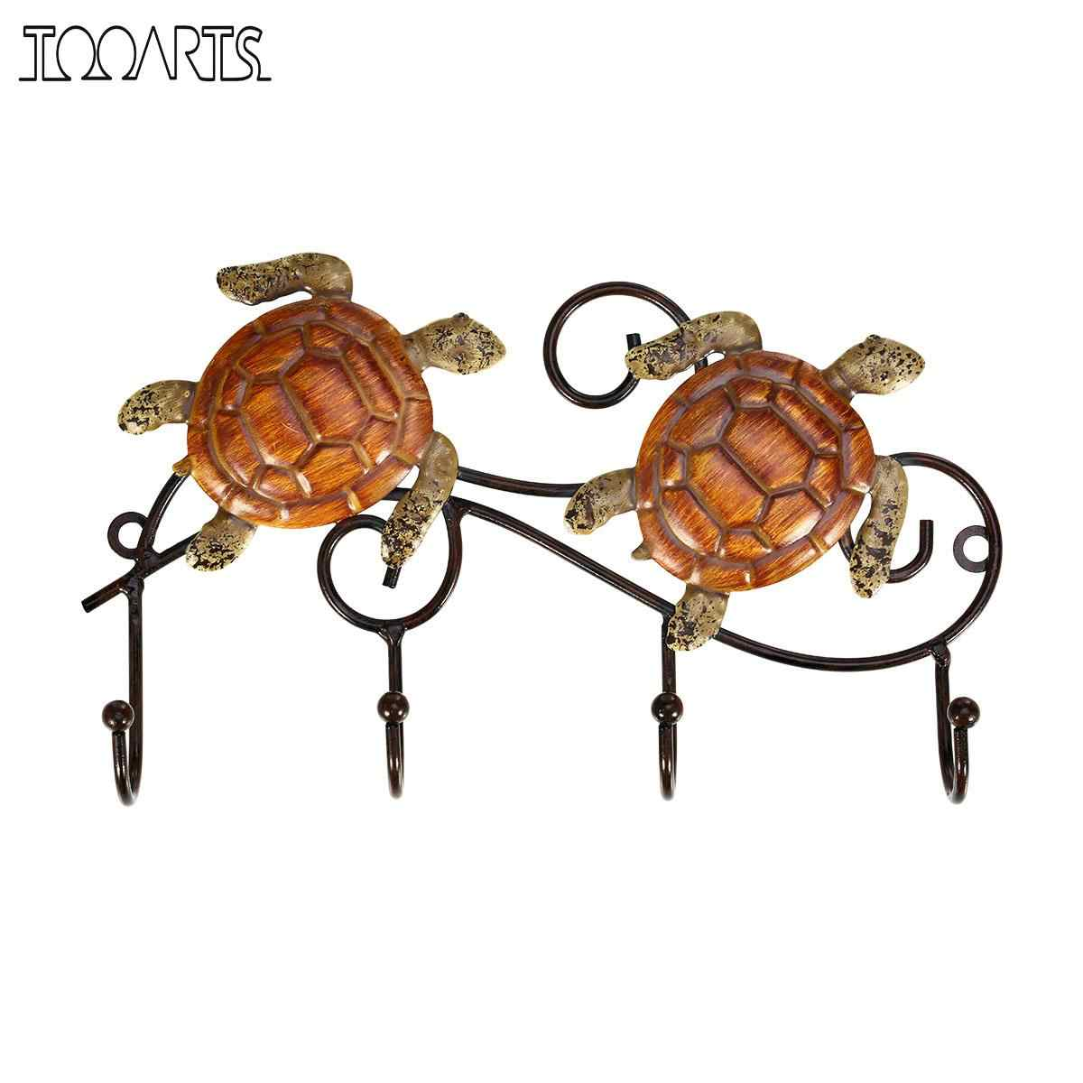 Tooarts Iron Wall Hanger Vintage Design with 4 Hooks Coats Keys Bags Coats Hanger Wall Mounted Home Decoration Animal Figurines
