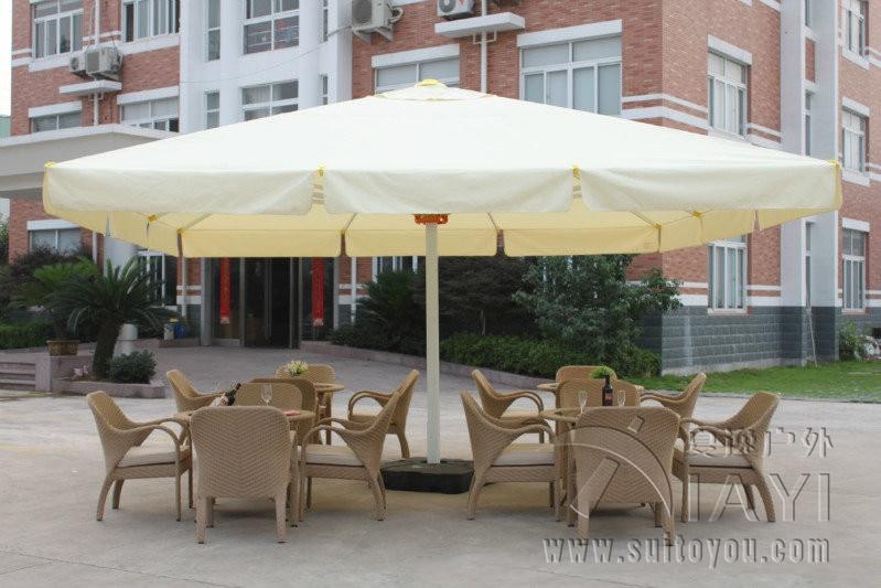 ... 5 Meter Square Deluxe Aluminum Big Outdoor Patio Sun Umbrella Parasol  Sunshade Furniture Covers With Cross ...