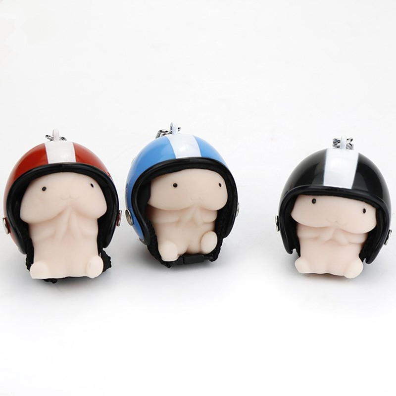 New Cute Squishying Toy Dingding Helmet Random Color Keychain Squeeze Stress Reliever Prank Kids Toys Gift For Kid Childern
