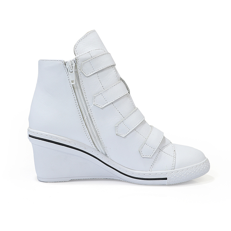 Zip Wedge Femmes Rond Pompes Bout blanc Chaussures Dames Boucle Gladiateur Noir Côté Noir Blanc Derbies Sangle Espadrilles En Cuir qZwYtZr