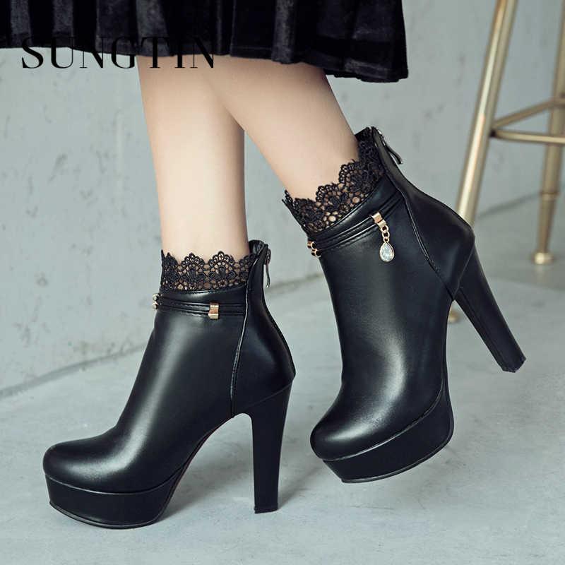 4adaff721 Sungtin пикантные на очень высоком каблуке вечерние ботинки черный, белый  цвет женские ботильоны короткие Сапоги