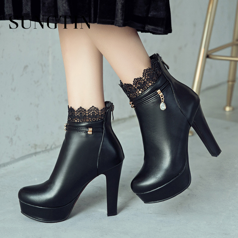 Sungtin Sexy Lace Super High Heel Party Boots Shoes Black White Women Ankle Boots Short Riding Boots Ladies Booties Plus Size купить недорого в Москве