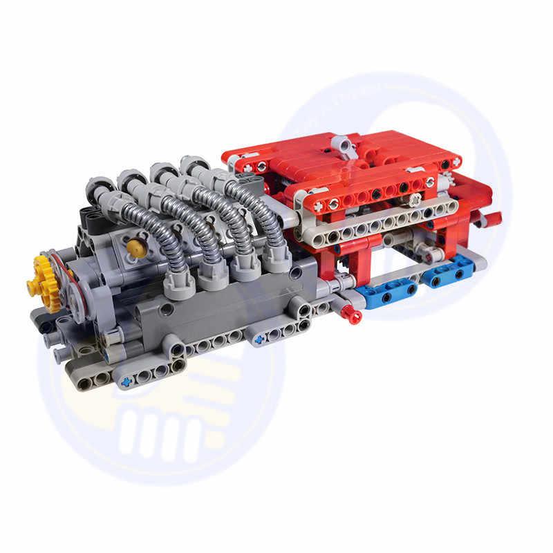 Baru Yang Kompatibel dengan Legoes Teknik Moc Set 8 Kecepatan Sequential Gearbox Mesin Roda V8 V16 Bangunan Blok Batu Bata Bagian DIY mainan