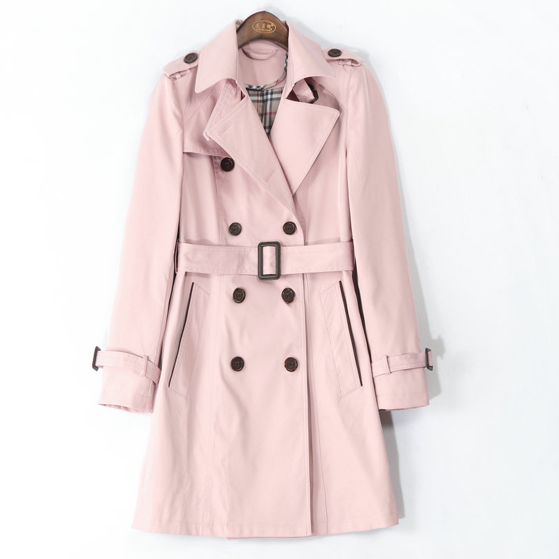 New Women   Trench   Coat Girl Classic Waterproof Raincoat Double Breasted High Fashion Brand Autumn Business Outerwear PINK