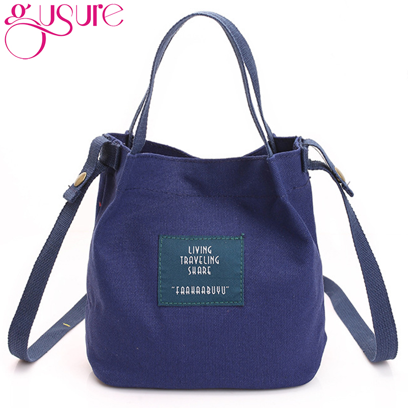 aa62922d4da2d Gusure Fashion Women Canvas Handbag Shoulder Bag Crossbody Messenger Bag  Swagger Bag Female Casual Shopping Bags Bucket Pack