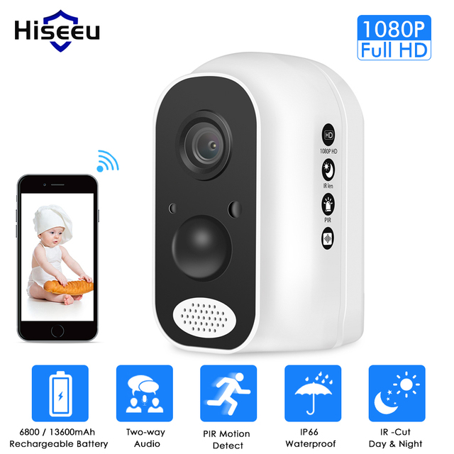 Hiseeu 13600mAh батарея IP камера 1080P HD беспроводная WIFI камера 2.0mp Домашняя безопасность видео Survelliance Водонепроницаемая PIR сигнализация