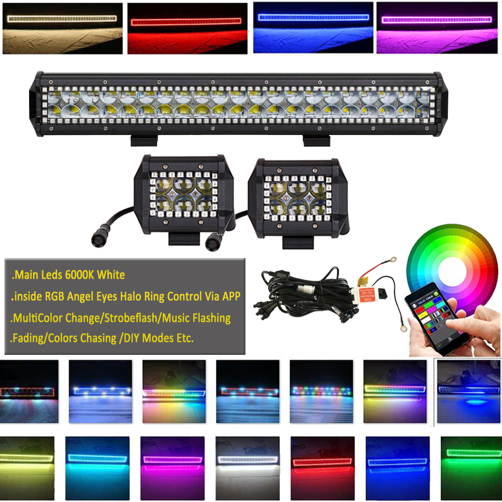 "20/"" inch 126W 4D RGB Chasing Halo LED Offroad Light Bar Driving ATV SUV UTE"
