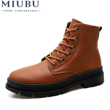 MIUBU Autumn Winter Warm Ankle Zipper Boots Shoes Male Business Casual Genuine Leather Quality Slip On High-Top Man