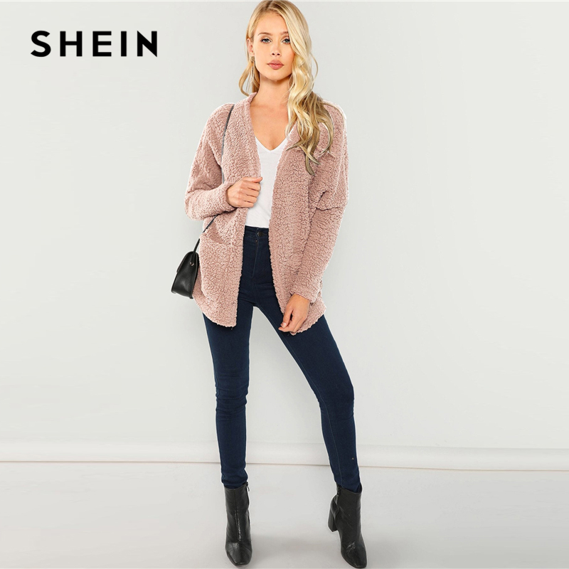 Womens Plain Casual Open Front Side Pockets Blazer Long Sleeves Ladies Cardigan