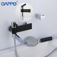 GAPPO Bathtub Faucets brass water tap chrome and black bath tub faucet mixer shower set with basin faucet torneira do anheiro