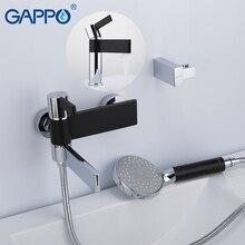 GAPPO Vasca Da Bagno Rubinetti in ottone acqua di rubinetto cromato e nero vasca da bagno rubinetto miscelatore doccia set con rubinetto del bacino torneira fare anheiro