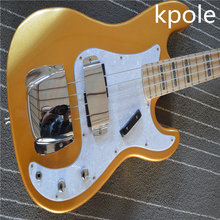 factory customized gold powder color four string electric bass guitar, Kpole chrome hardware, maple fingerboard
