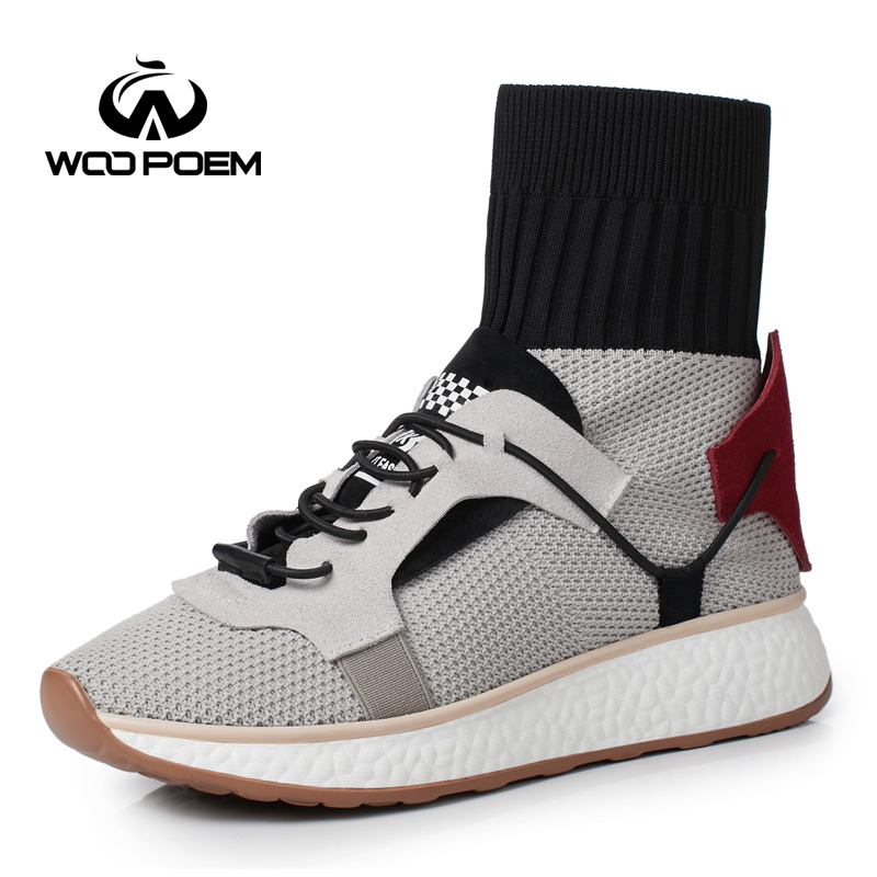 WooPoem Brand 2017 Winter Shoes Woman Genuine Leather Socks Shoes Comfort Low Heel Ankle Boots Fashion