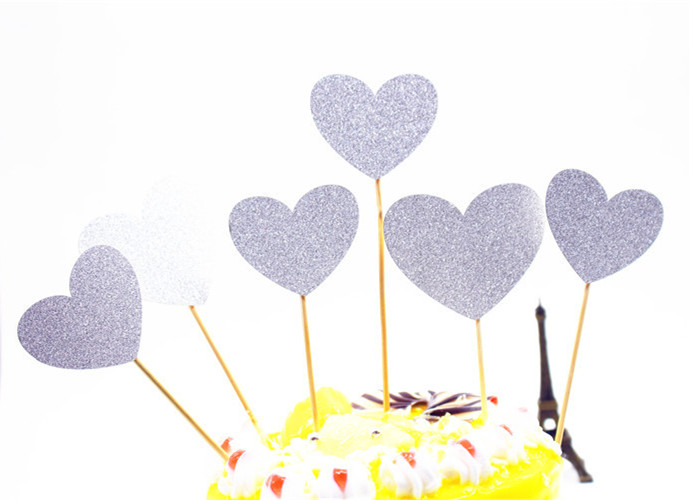 6pcs/lot Creative Love Heart Cake Flag Topper Single Stick Flags Multi Colors For Wedding Birthday Party Cake Baking Supplies-3