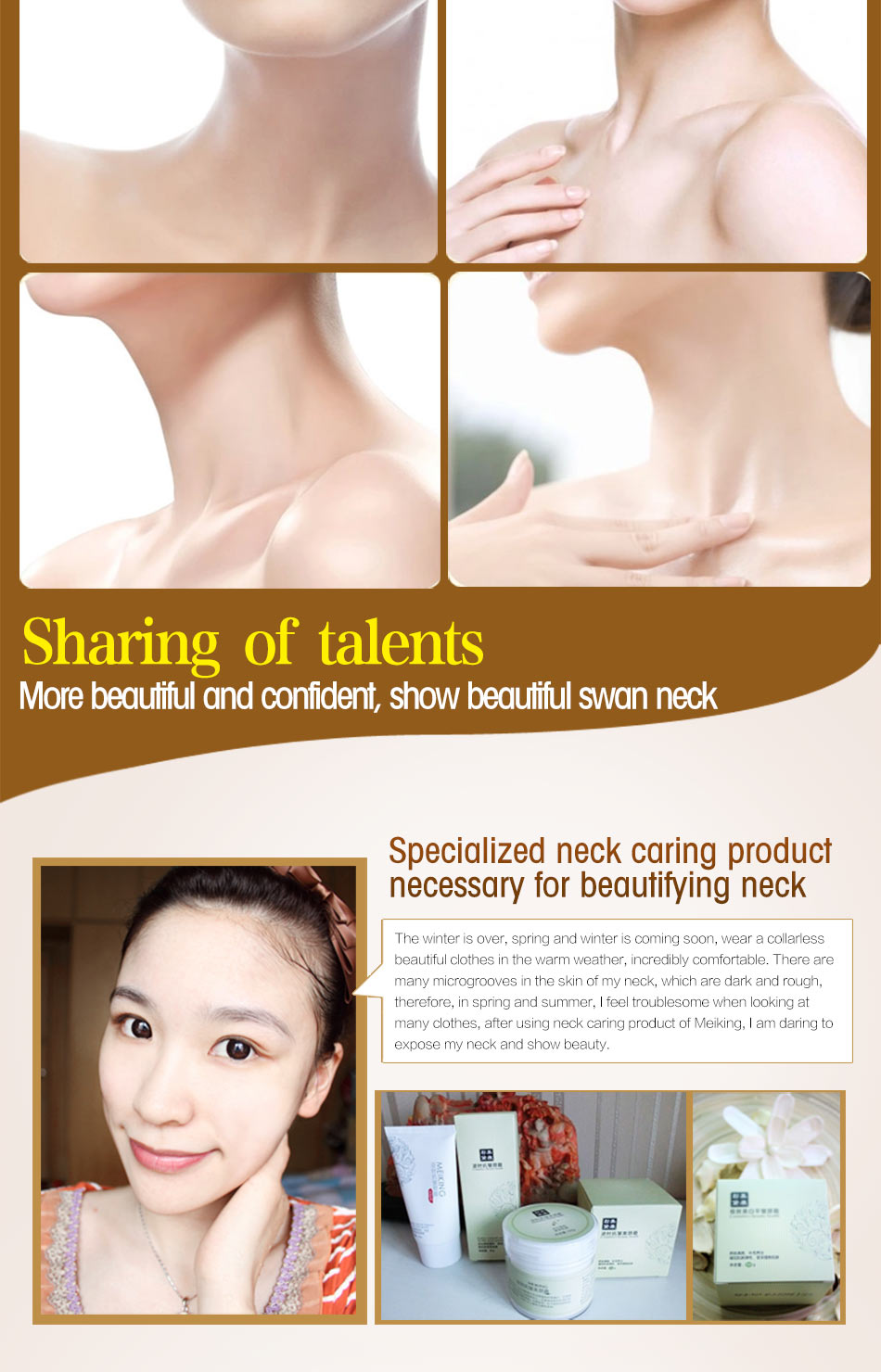 MEIKING Neck Mask Neck Cream Skincare Anti wrinkle Whitening Moisturizing Nourishing Firming Neck Care Set Skin Care Set 180g 5