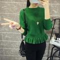 Nuevo O Cuello Corto Ruffles Batwing Suéter de Punto Pullover Informal Suéter Delgado Para Las Mujeres Primavera Otoño Suéter Cosecha D56204