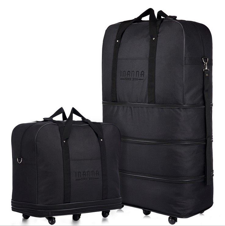 ФОТО Large Capacity Three Tier Expandable Folding Bag Oxford Cloth Bag Universal Wheel Consignment by Air Travel Bags Luggage Bags