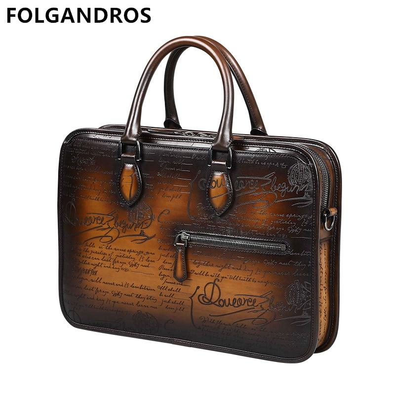 Men's Business Briefcase Genuine Leather Luxury Handmade Calfskin Shoulder Bag Italian Designer Document File Laptop Bag