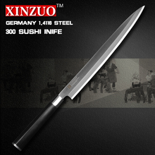 XINZUO 12 inch sashimi knife with Scabbard Germany steel kitchen knives One-sided sushi knife Ebony handle free shipping