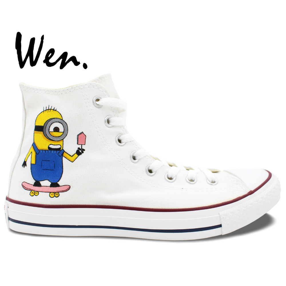 ФОТО Wen Unisex Hand Painted Shoes Custom Design  Despicable Me Minions High Top Women Men's Canvas Shoes Christmas Gifts
