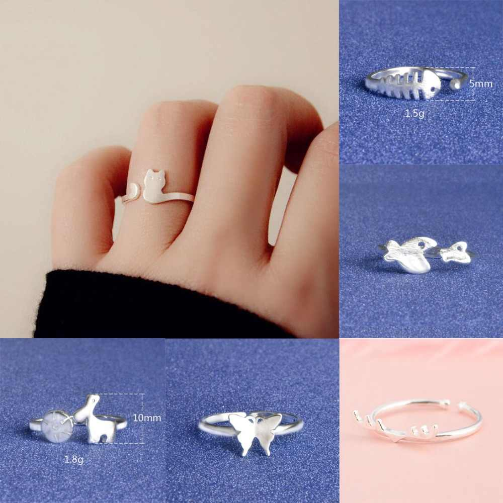 Ring Women Men Girls Adjustable Jewelry Silver Gold Fashion Gift Trend Cute Fish Cat Animal Butterfly Deer