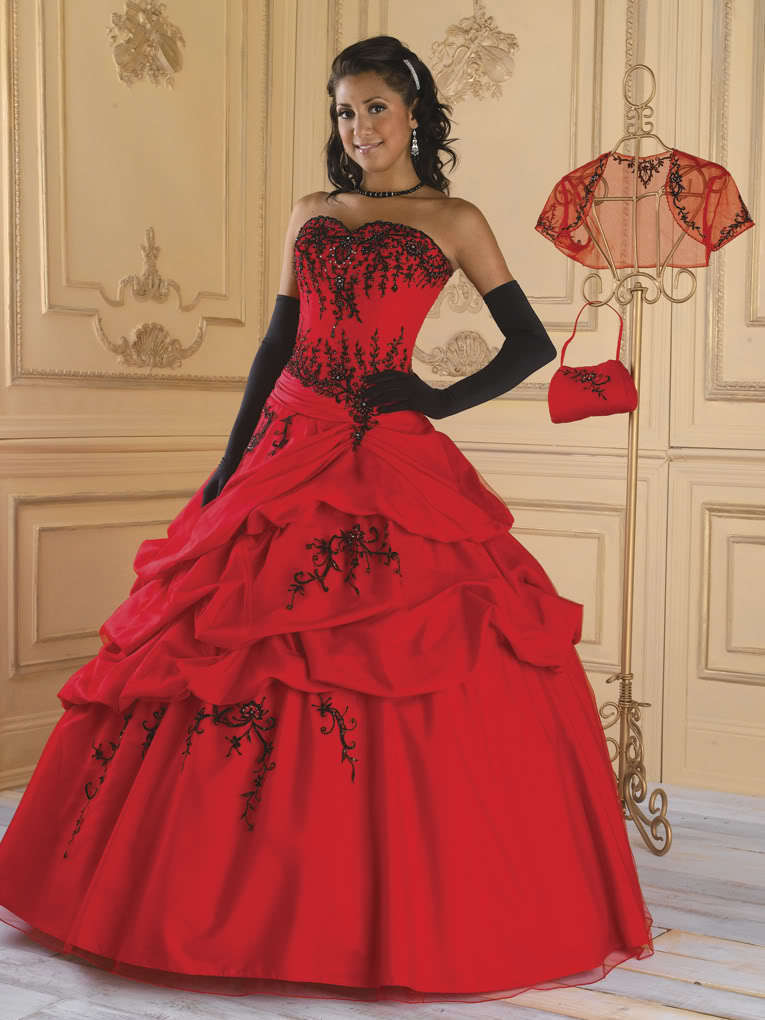 2018 Embroidery New Red and Black Ball Gown lace up beading evening ...