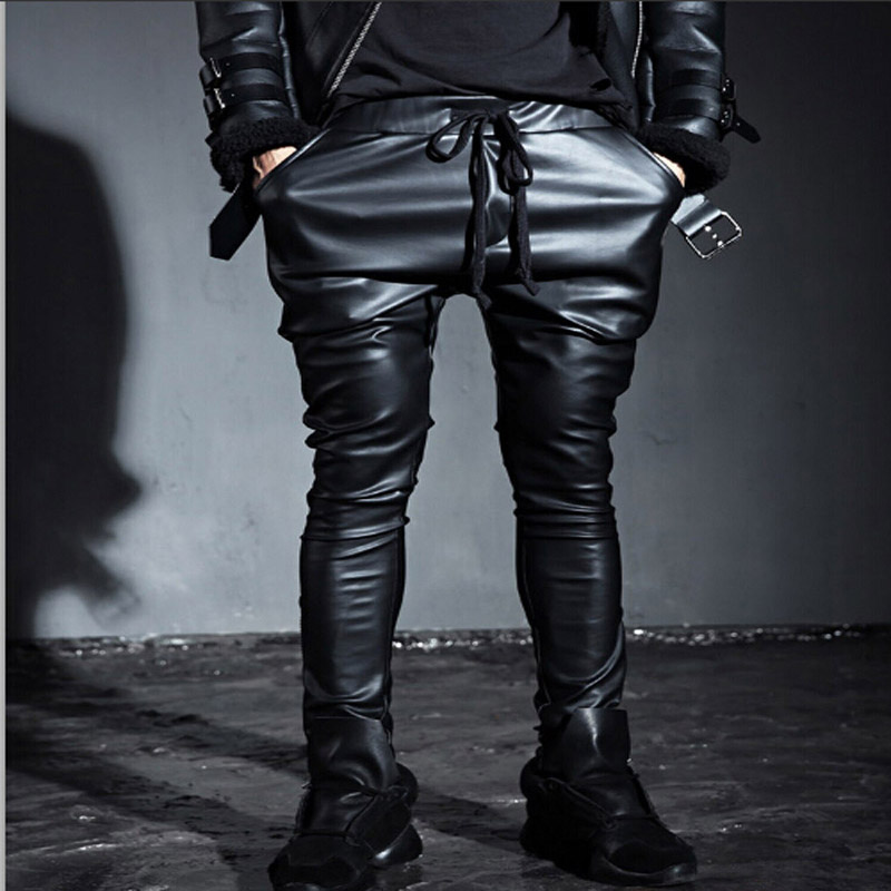 Fashion Men's Punk Rock Armor Simple PU Faux Leather Tie Zip Ankle Pants  Long Trousers Full Length Pants M-2XL 13
