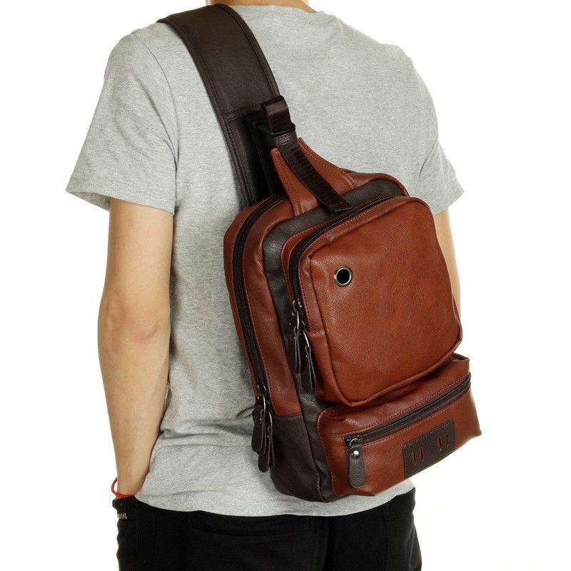 Men S Leather Shoulder Chest Bag Backpack Crossbody Bag