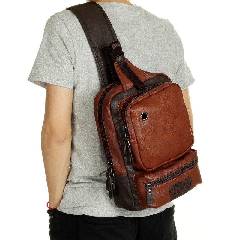 Men's Leather Shoulder Chest Bag Backpack Crossbody Bag Sling Bag Riding