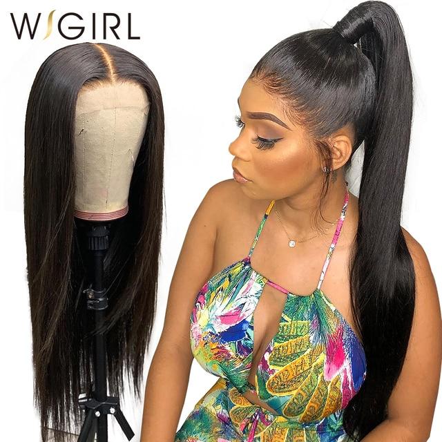 Wigirl 13x6 Синтетические волосы на кружеве парик человеческих волос Прямые 30 32 дюйма длинные парики предварительно вырезанные бразильские ЛОБНЫЙ парик для черных Для женщин