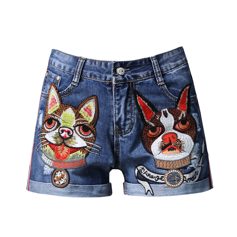 Women Shorts Fashion 2018 Embroidery Dog Pattern Summer Shorts Retro Denim Shorts Lady Girls Casual Blue Jeans Shorts Femme