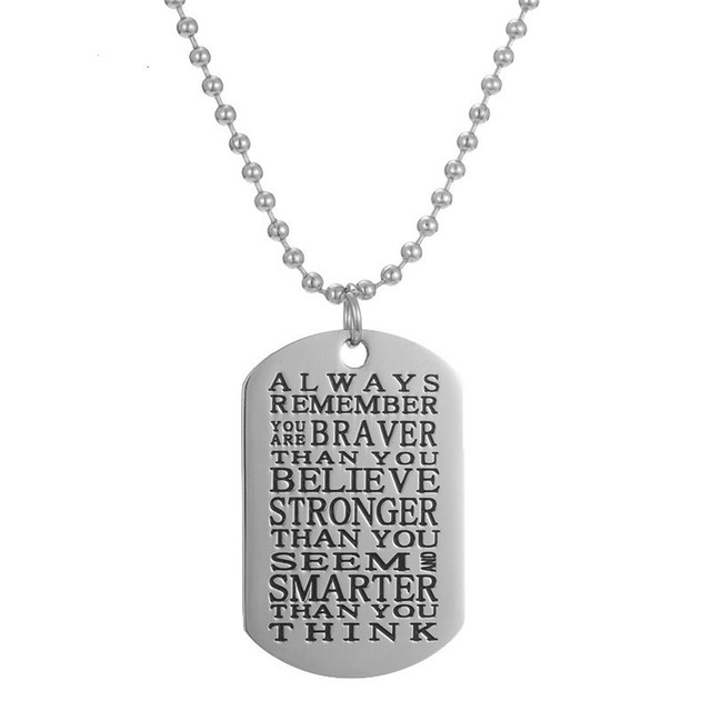 Stainless steel you are braver than you believe pendant necklace stainless steel you are braver than you believe pendant necklace inspirational quote dog tag jewelry gifts aloadofball Images
