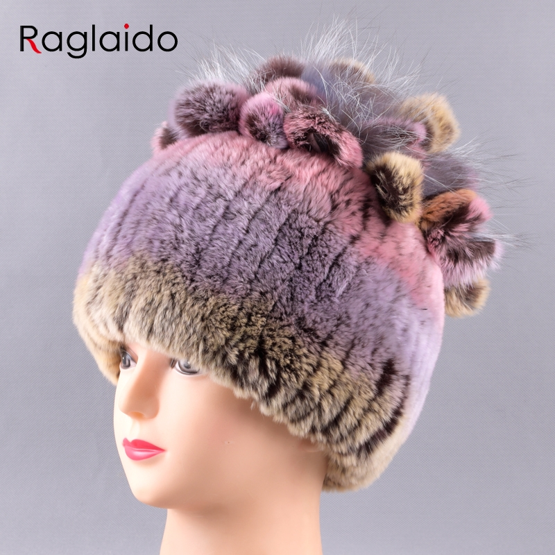 917e5f69341 Raglaido Rex Rabbit Fur Hats for Women Girls Winter Snow Hat floral multi  color handknitted beanie inner woolen skullies LQ11242