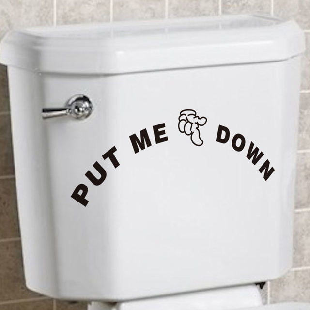 Put Me Down Toilet Seat Stickers Toilet Sign Reminder Quote Mural - How do you put a wall sticker on