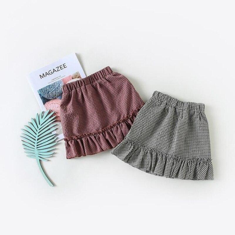 2018 Hot Sale Spring Summer baby Clothing Infant Toddler Girls Plaid Lotus Cotton Skirt Children Kids Mini Skirt
