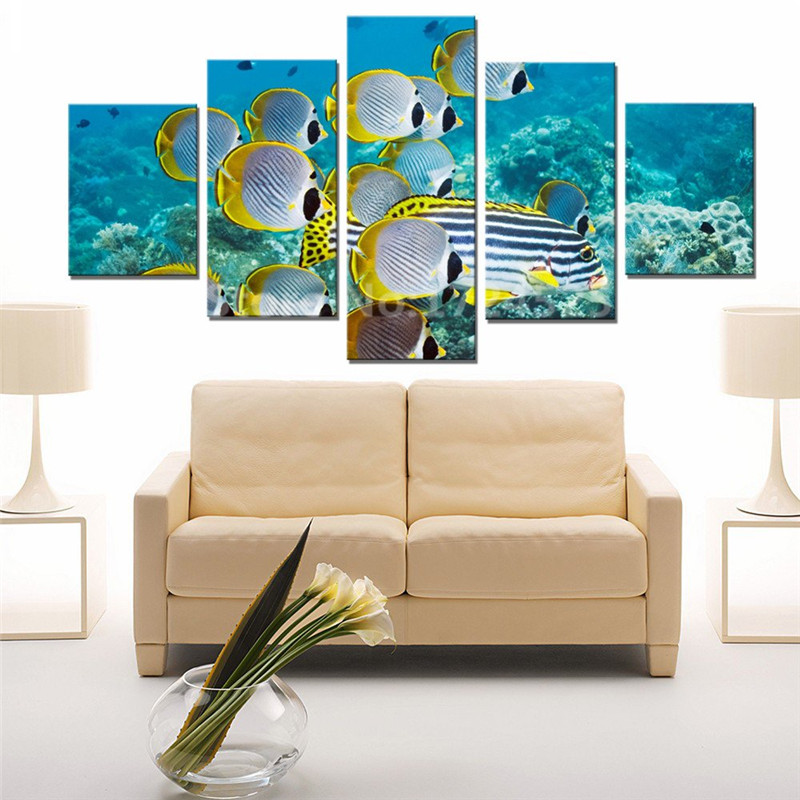 5 Panel Colorful Tropical Fish Canvas Painting Oceanscapes
