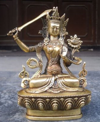 Free Shipping Tibetan Buddhist Bronze MANJUSHRI Buddha Statue 14 Cm