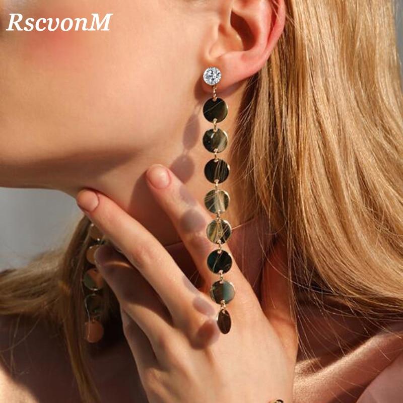 RscvonM Gold Color Crystal Tassel Earrings For Women Bar Long Dangle Drop Earing 2018 Fashion Female Wedding Jewelry Gift Wholes