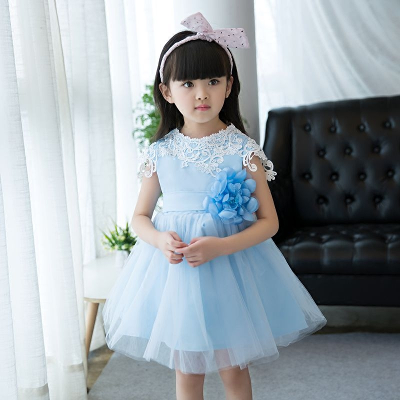 Embroidered Flower Girl Lace Dress Kids Pageant Party Wedding Ball Gown Prom Princess Formal Occassion Sky Blue Color Dress3-15Y