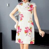 100% шелк стильный принт в китайском стиле короткий рукав шелковые вечерние платья 2019 новые женские весенние летние офисные женские Рабочие