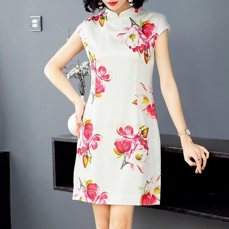 2019 100seide frauen neue party dress kurzarm chinesischen stil fr drucken im dCBoeWxrQ