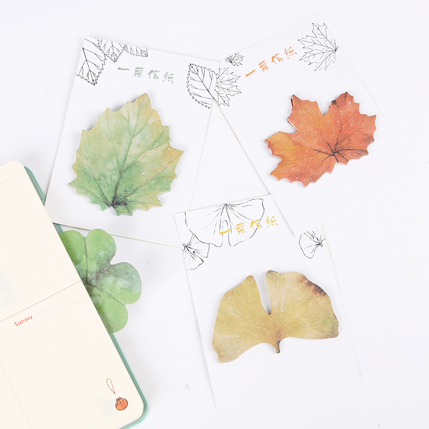 2PCS Simulation Leaf Sticky Note Green Plant Memo Pad Maple s