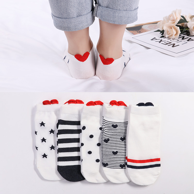 Cotton Socks Pink Cute Cat Ankle Socks Short Women Socks Casual Animal Ear Red Heart 35-40 5Pairs New Arrival Women Underwear