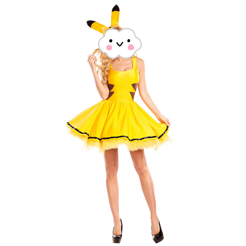 Hot Anime Cosplay Pokemon Pikachu Costume Dress Adult Yellow Cute Pikachu Costume Carnival Halloween Costume