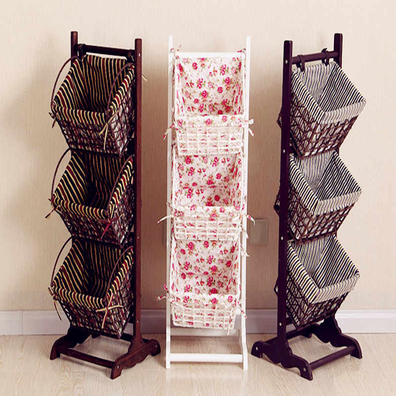 2017 Magazine rack ground living room receive basket real wood the cane basket newspaper stand multi-level rural receive frame