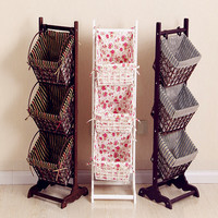 2017 Magazine Rack Ground Living Room Receive Basket Real Wood The Cane Basket Newspaper Stand Multi