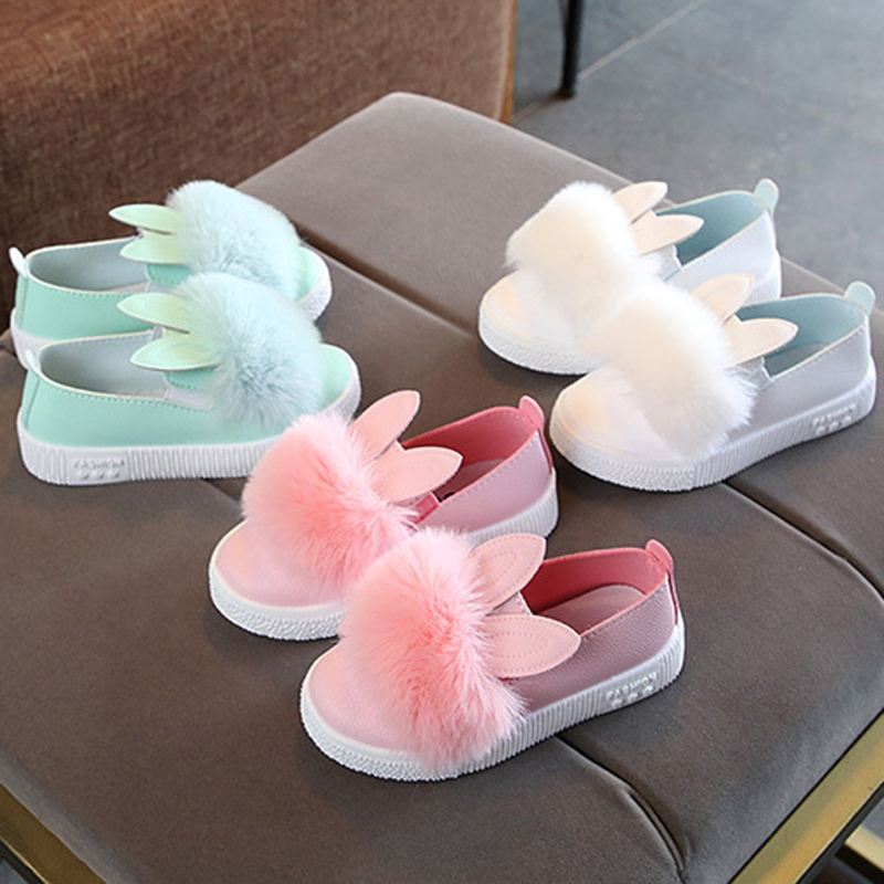 Cute Toddler Baby Girl Rabbit Ear Pompom Single Shoes Faux Leather Solid Slip-On Soft